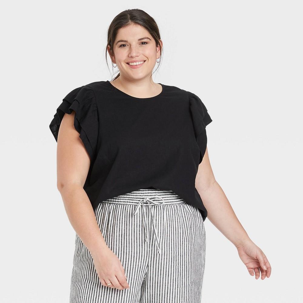 Women 39 S Plus Size Ruffle Short Sleeve Linen Top A New Day 8482 Black 4x