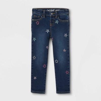 Baby Girls' Star Embroidered Girlfriend Jeans - Cat & Jack™ Dark Blue