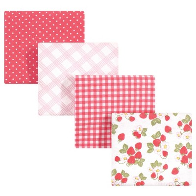 Hudson Baby Infant Girl Cotton Flannel Receiving Blankets, Strawberries, One Size