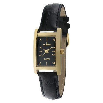Women's Peugeot Gold-tone Black Dial Leather Strap Watch - Black