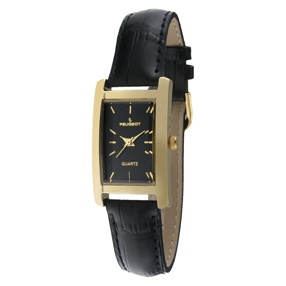Women' Peugeot Gold-tone Dial Leather trap Watch -