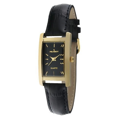 fe65ca4df Women's Peugeot Gold-tone Black Dial Leather Strap Watch - Black ...
