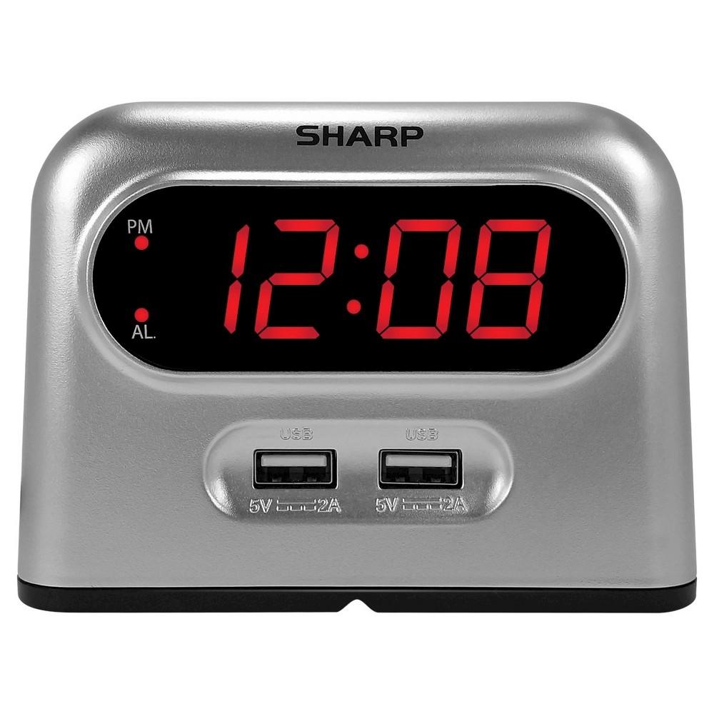 Image of 2 USB Digital Alarm Clock Gray - Sharp, Black Silver