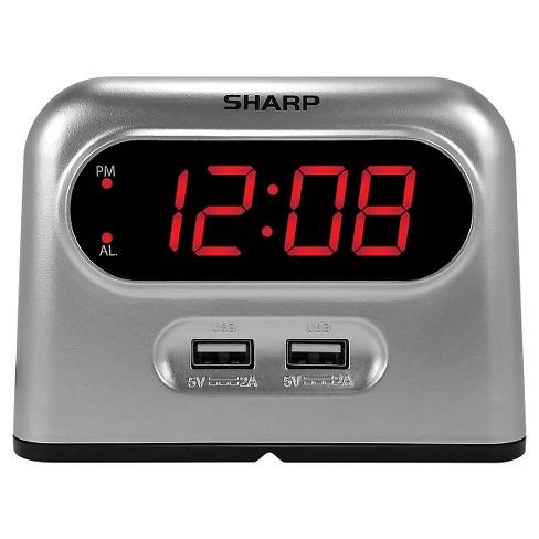 2 USB Digital Alarm Clock Gray - Sharp - image 1 of 4