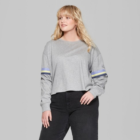 7616d5a9bbaef Women s Plus Size Striped Long Sleeve Boyfriend T-Shirt - Wild Fable™ Gray