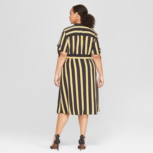 f31f874067f Women s Plus Size Striped Short Sleeve Knotted Midi Shirtdress - Who ...