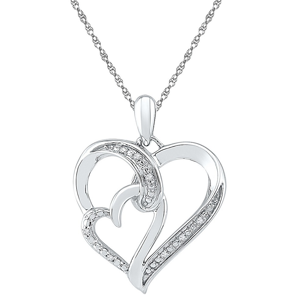 Image of 0.030 CT. T.W. Round White Diamond Prong and Channel Set Heart Pendant in Sterling Silver (IJ-I2-I3), Women's, Size: Small