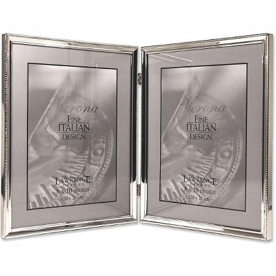 """Lawrence Frames 8"""" x 10"""" Metal Silver Hinged Double Picture Frame with Beads 11680D"""