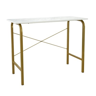 "40"" Home Office Computer Desk with Metal Base Marble/Brass - Versanora"
