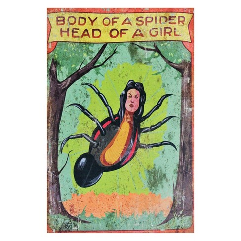 "17"" x 11"" Halloween Spider Girl Carnival Metal Sign - image 1 of 1"