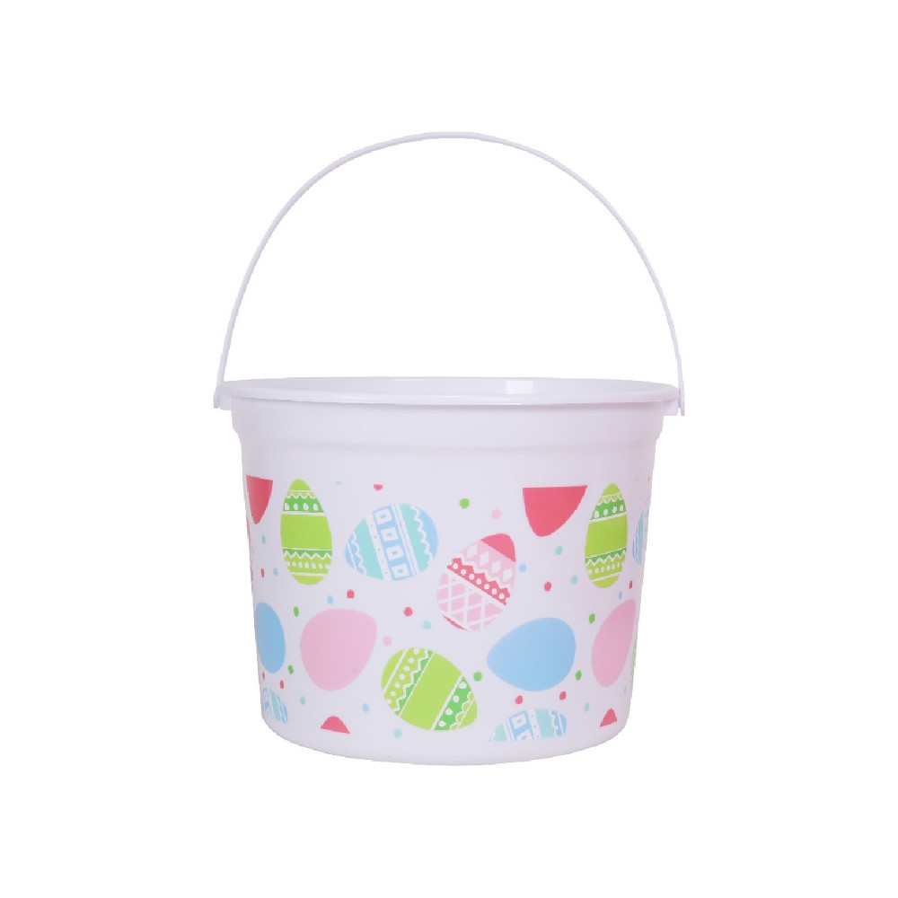 8.5 Plastic Easter Basket White with Easter Egg Design - Spritz, Yellow
