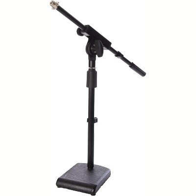 """LyxPro KDS-1 Kick Drum Mic Stand, Low Profile Height Adjustable Microphone Boom Stand, Weighted Base, 3/8"""" and 5/8"""" threaded mounts for for Kick drums, Guitar Amps, and Desktop, Black"""