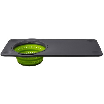 Squish Over-The-Sink Cutting Board with Colander Green/Gray