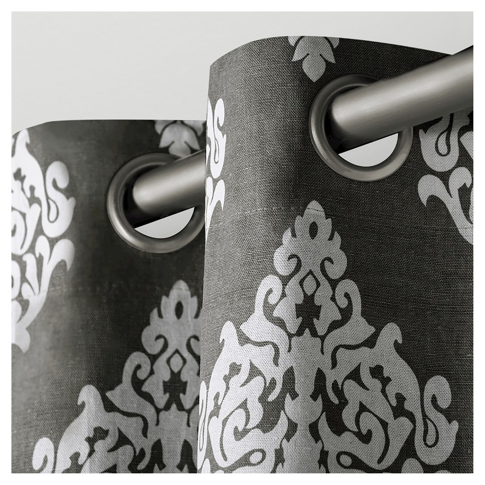 Set of 2 Damask Curtain Panel Black Pearl (54