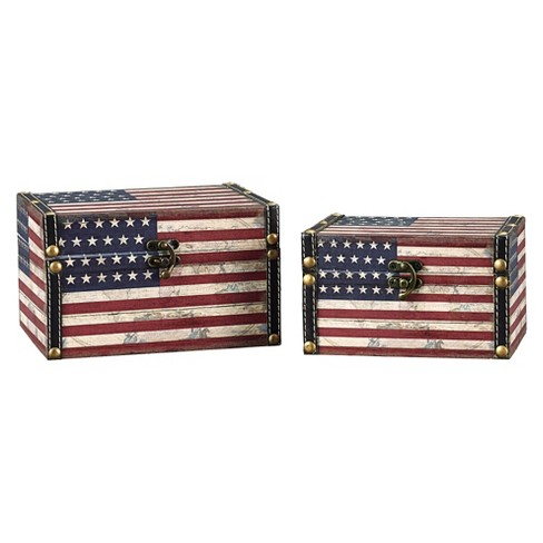 Household Essentials® American Flag Cube Storage Box Set of 2 - image 1 of 2
