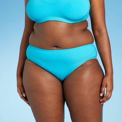 Juniors' Plus Size Ribbed Hipster Bikini Bottom - Xhilaration™ Bright Blue