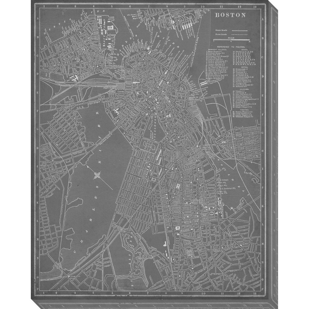 Image of City Map of Boston Unframed Wall Canvas Art - (24X30), Gray