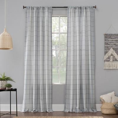 Castille Farmhouse Plaid Semi-Sheer Rod Pocket Curtain Panel - No. 918