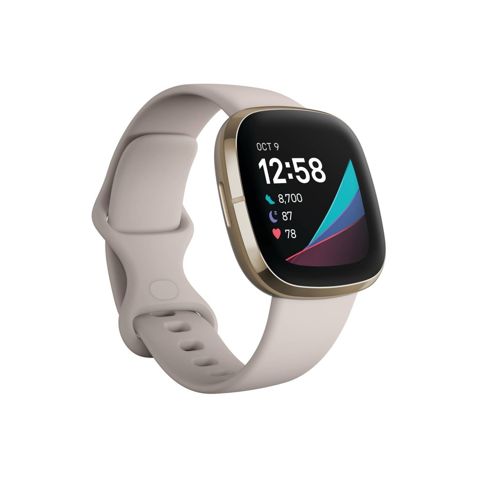 Fitbit Sense Smartwatch Soft Gold Stainless Steel With Lunar White