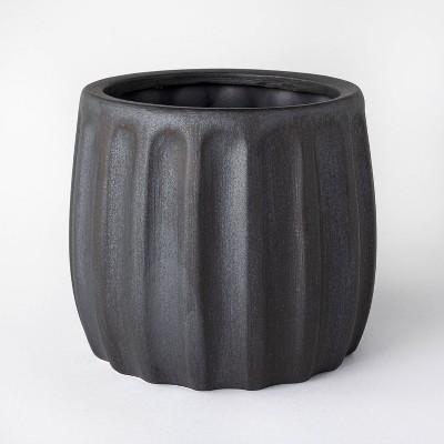 "6.93"" Metallic Glaze Ceramic Table Planter Black - Threshold™ designed with Studio McGee"