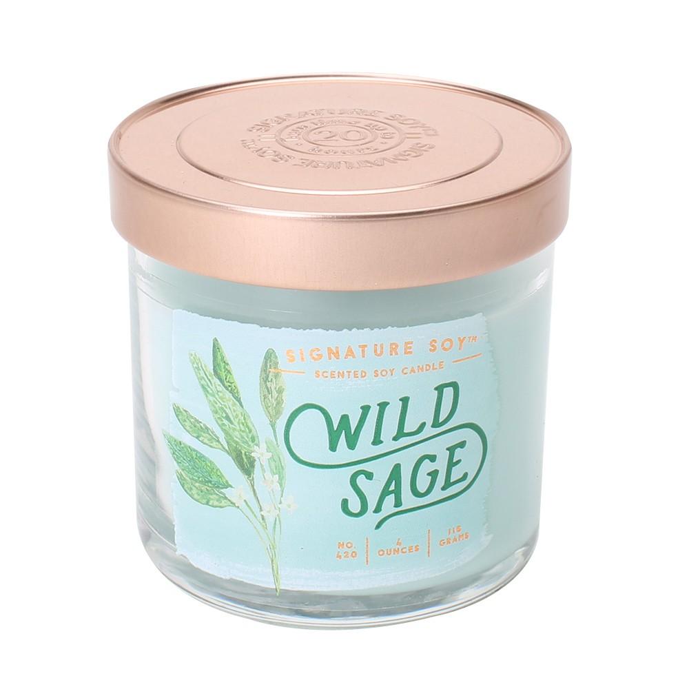 4oz Lidded Glass Jar Candle Wild Sage - Signature Soy, Light Blue