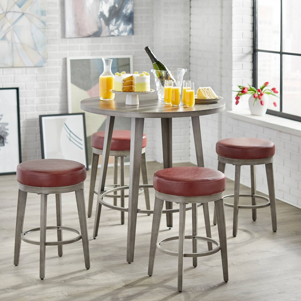 Image of 5pc Linden Counter Height Dining Set Red - angelo : Home