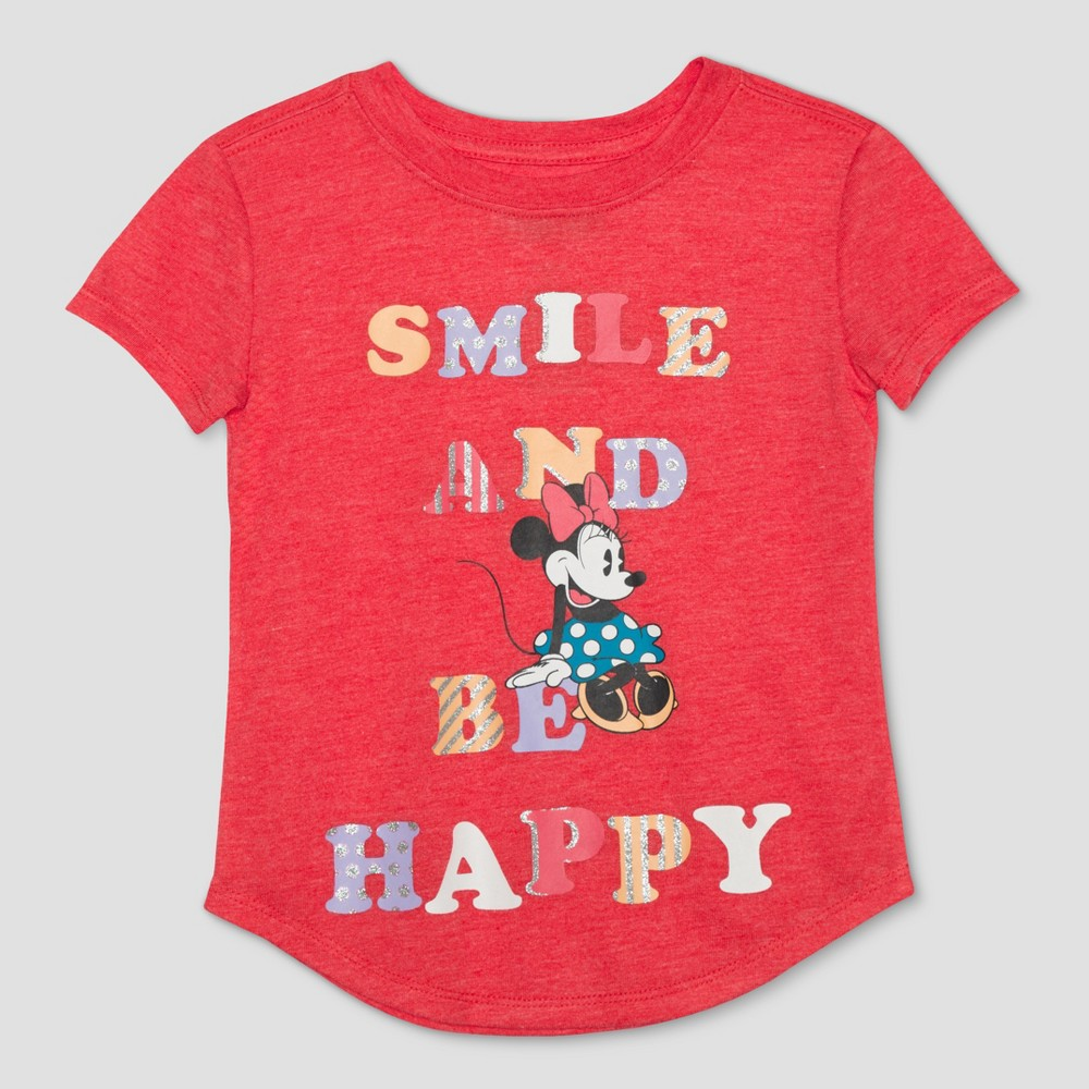 Toddler Girls' Disney Mickey Mouse & Friends Minnie Mouse Be Happy Short Sleeve T-Shirt - Red Heather 18M