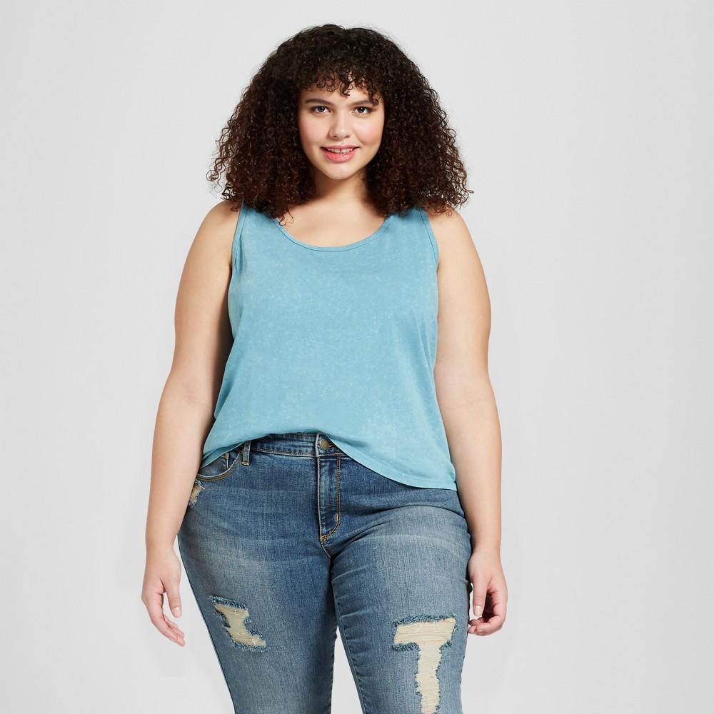Women's Plus Size Sensory Friendly Knit Flannel Tank Top - Universal Thread Blue 3X