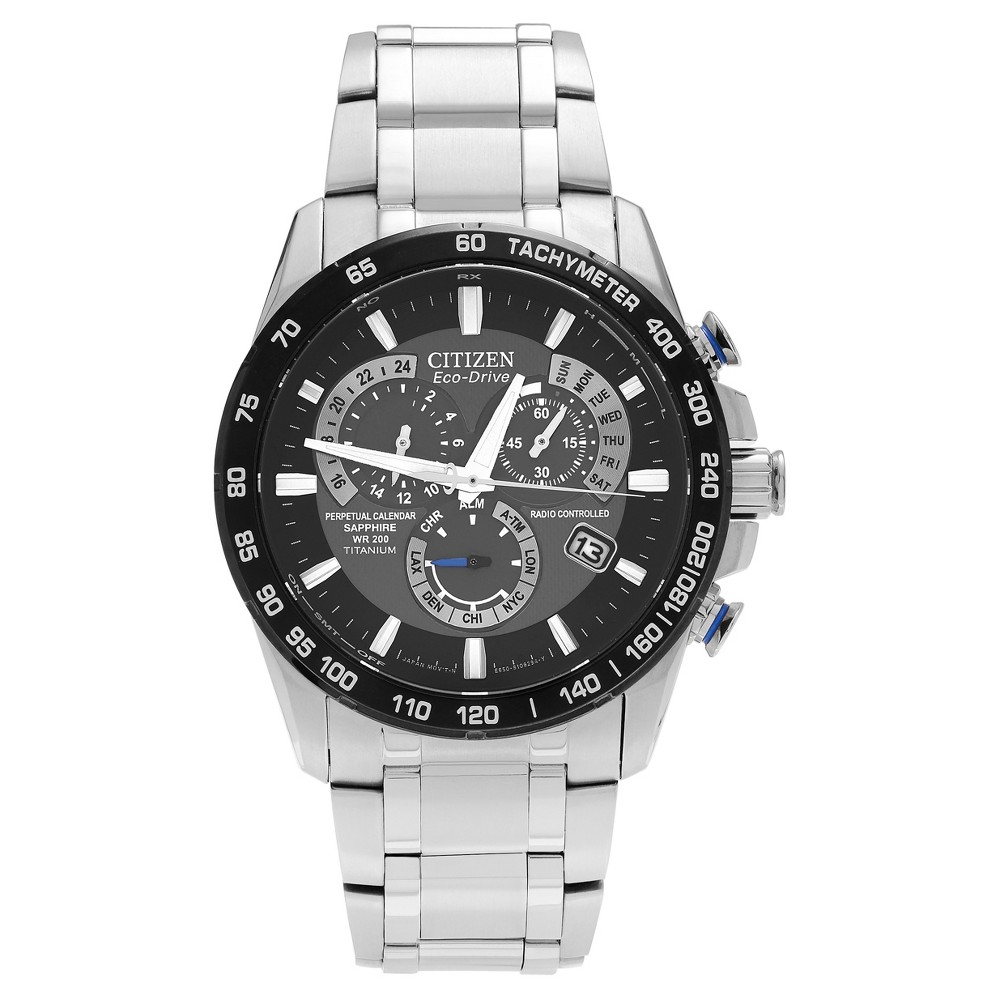 Men's Citizen Perpetual AT4010-50E Stainless Steel Chronograph Dial Link Bracelet Watch - Silver/Black