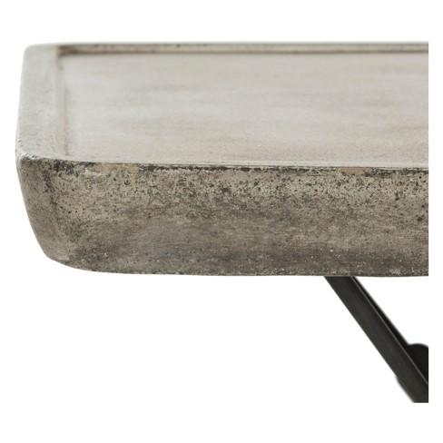 Delartin Modern Concrete Square Coffee Table Dark Grey Safavieh All