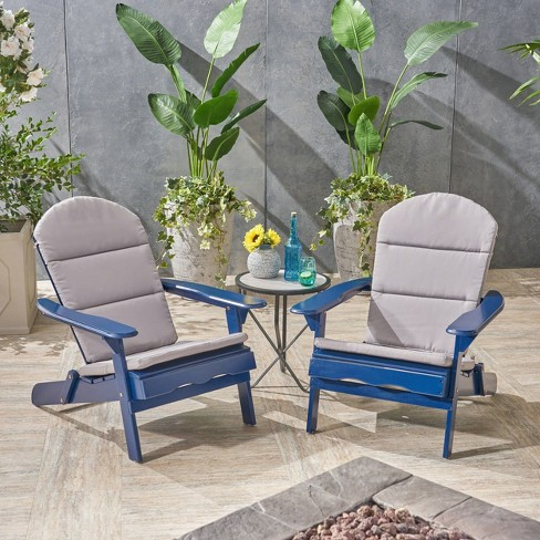 Malibu 2pk Acacia Wood Adirondack Chairs - Blue - Christopher Knight Home - image 1 of 4