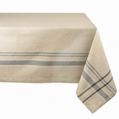 104 x60  Nautical French Stripe Tablecloth Tan - Design Imports