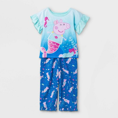 Toddler Girls' 2pc Peppa Pig Mermaid Pajama Set - Blue