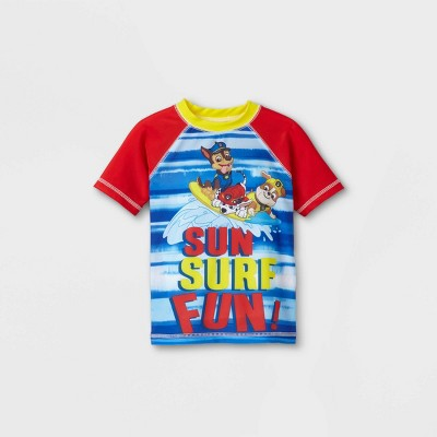 Toddler Boys' PAW Patrol Short Sleeve Rash Guard Swim Shirt - Blue/Red