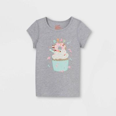 Toddler Girls' Adaptive Birthday Cupcake Short Sleeve Graphic T-Shirt - Cat & Jack™
