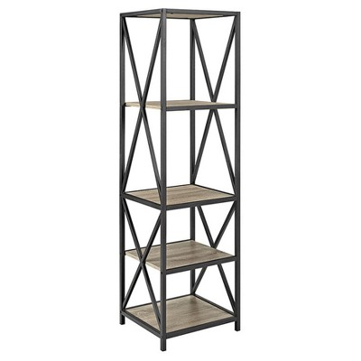 61 Metal Tower with Wood Shelves Driftwood - Saracina Home
