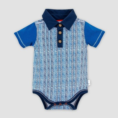 Burt's Bees Baby® Baby Boys' Organic Cotton Chevron Sticks Polo Bodysuit - Blue 3-6M