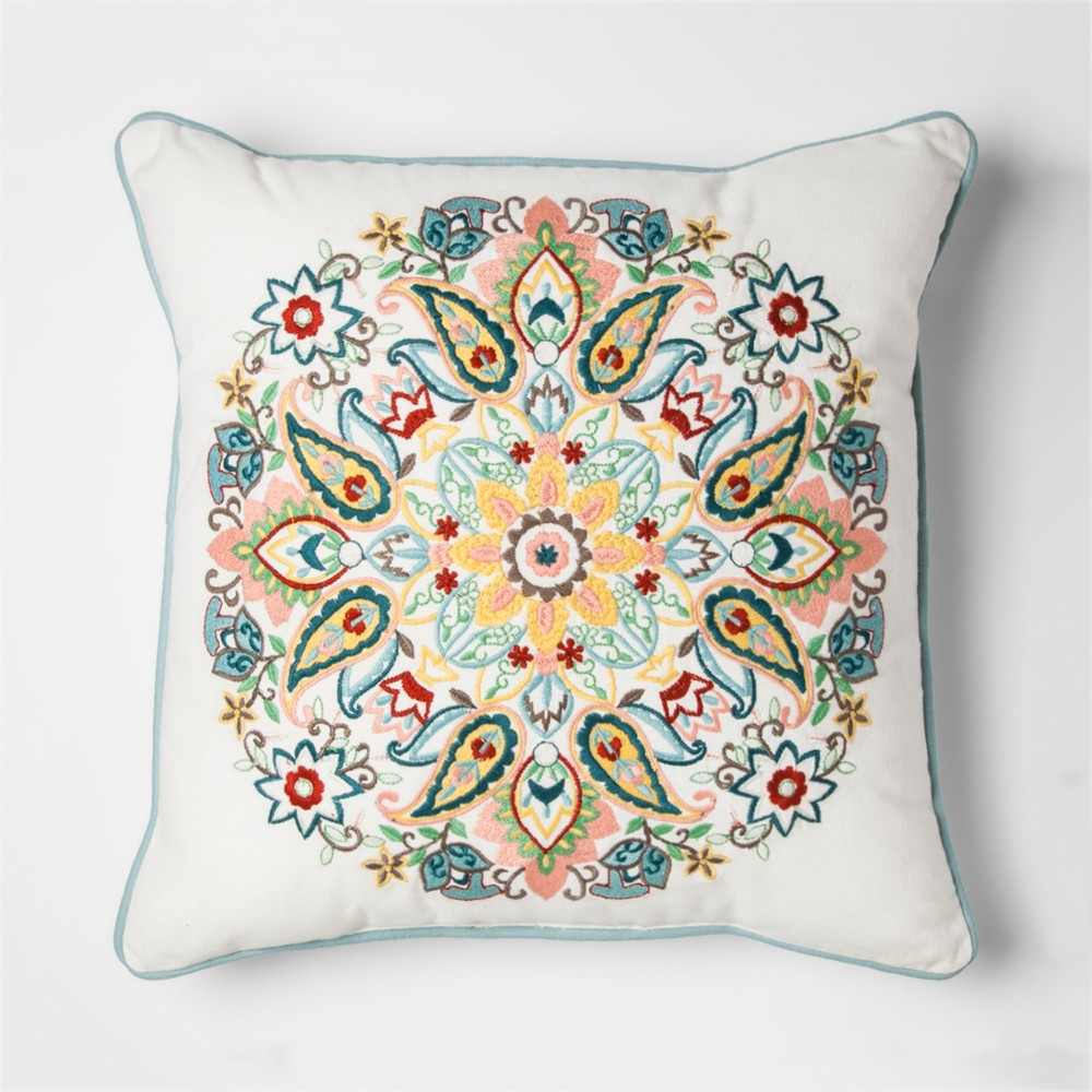 Centre Medallion Embroidered Throw Pillow - Threshold, Ivory