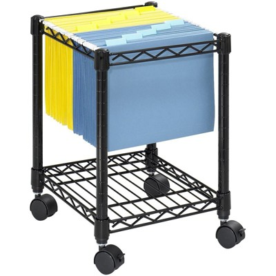 Steel Compact Metal Mobile File Cart in Black-Safco