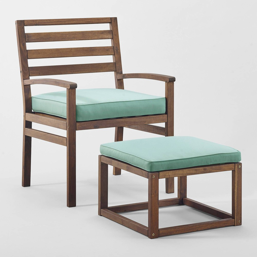 Image of 2pc Acacia Wood Outdoor Patio Chair & Pull Out Ottoman - Dark Brown/Blue - Saracina Home