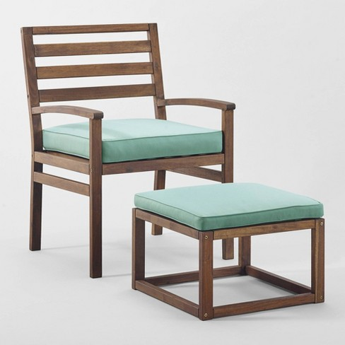 2pc Acacia Wood Outdoor Patio Chair And, Patio Furniture Wood