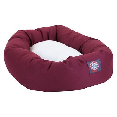 Majestic Pet Sherpa Bagel Pet Bed - Burgundy - Extra Large