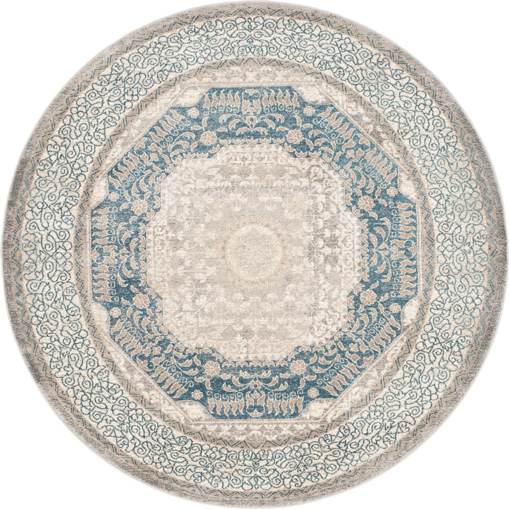 9' Medallion Loomed Round Area Rug Light Gray/Beige - Safavieh