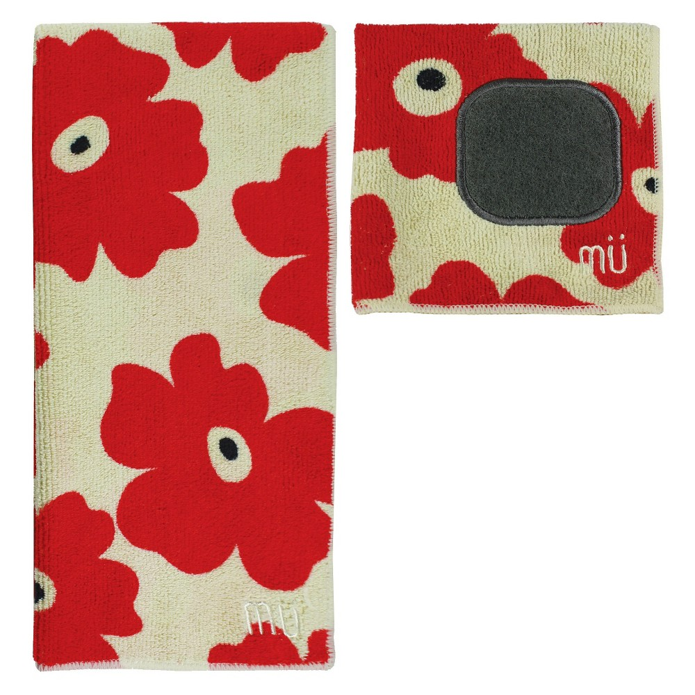 Image of 2pc Ultra Absorbent Solid Microfiber Kitchen Towel With Scrubber Cloth Red/Tan - Mu Kitchen