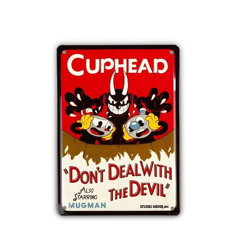 Just Funky Cuphead Collectibles | Cuphead Don't Deal With The Devil Tin Sign - image 1 of 4