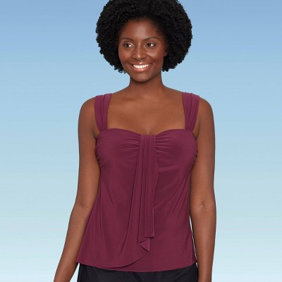 Women's Slimming Control Sash-Front Tankini Top - Dreamsuit by Miracle Brands