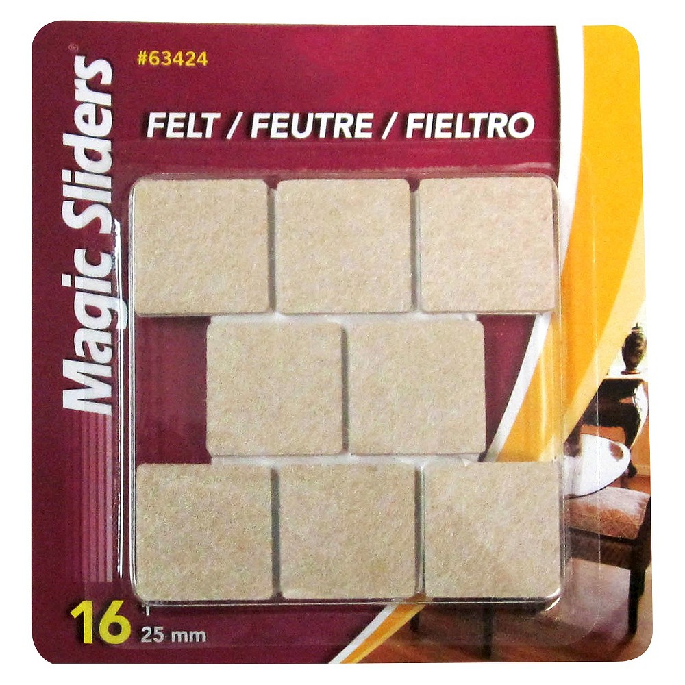 Magic Sliders 1 Square Felt Self Stick Pads 16-ct. Perfect for furniture - chairs and sofas - that damage floorsand small objects, like lamps, computer equipment, and appliances that ruin table-tops and desks.