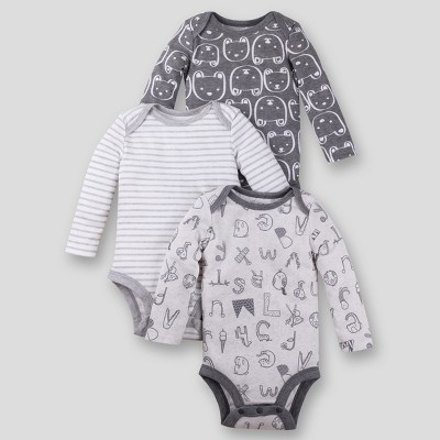 Lamaze Baby's Organic 3pk Long Sleeve Alpha Print Bodysuit - Gray Newborn