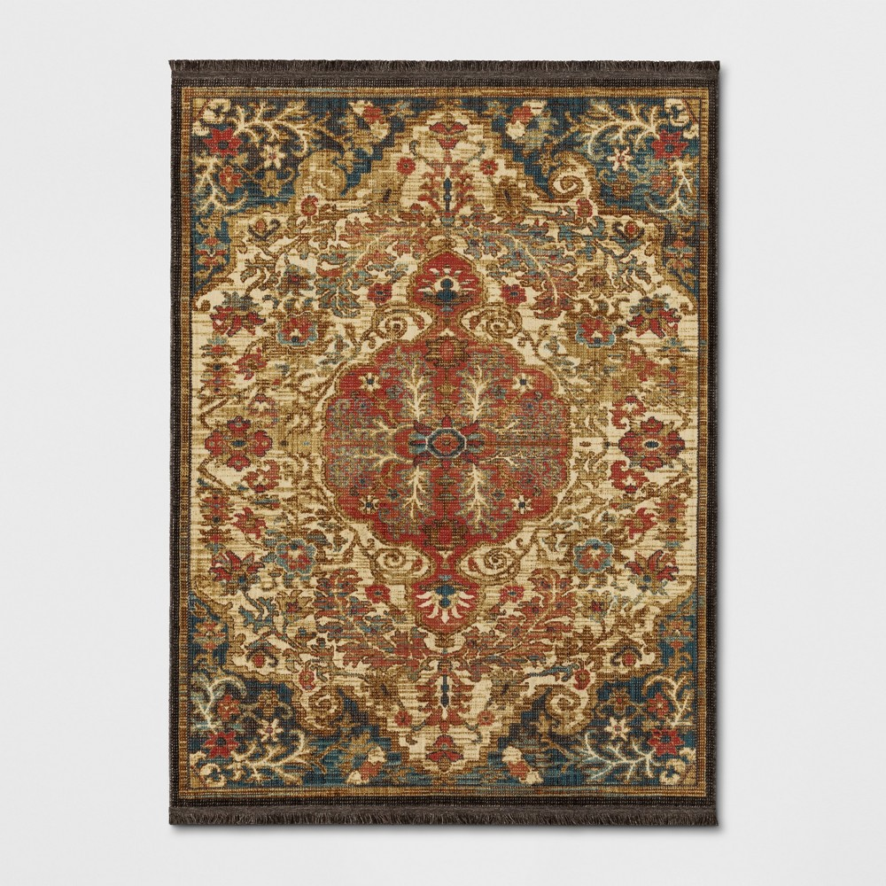 Floral Woven Area Rug Beige