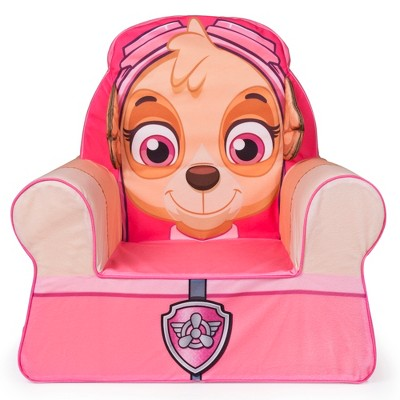 Marshmallow Furniture Comfy Foam Toddler Kid's Chair Armchair for Ages 18 Months Old and Up, Paw Patrol Skye, Pink